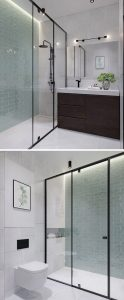 The Bedroom In This Kiev Apartment modern bathroom black frame glass shower surround 170517 926 06