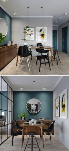 The Bedroom In This Kiev Apartment small dining room deep teal accent wall 170517 924 03