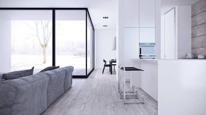 Thiết kế căn hộ thanh lịch và đơn giản với tông màu xám – trắng thiet ke noi that can ho toi gian 2