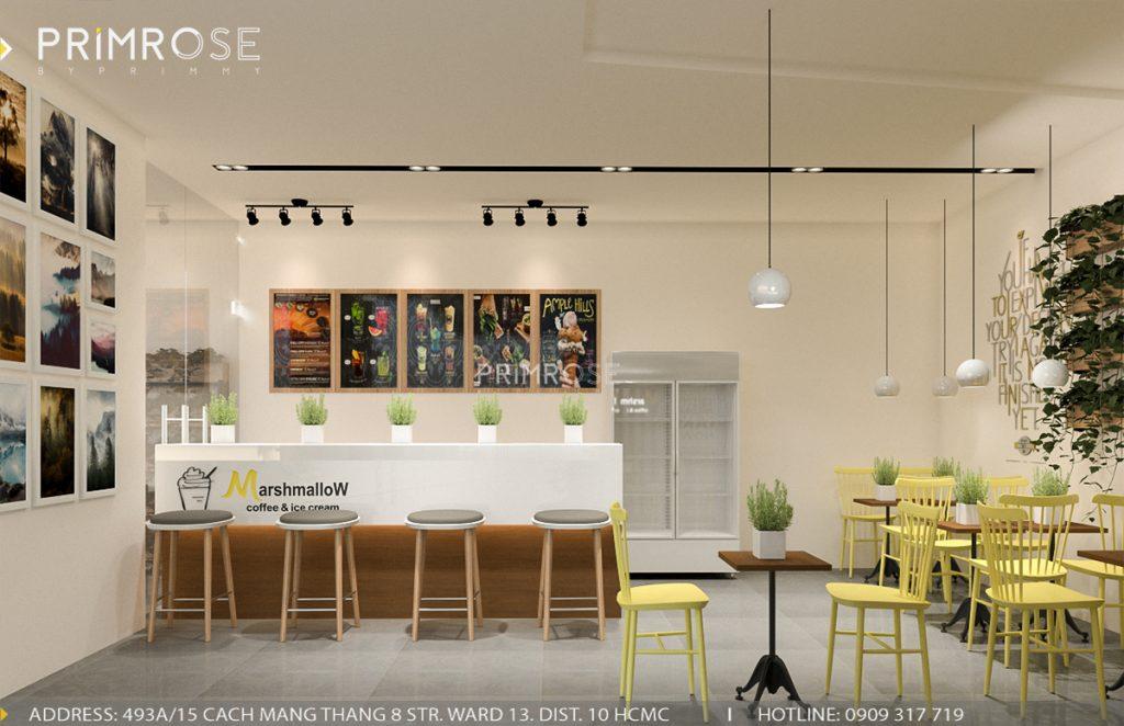 Marshmallow - Không gian quán cafe kem phá cách độc đáo với phong cách hiện đại thiet ke quan cafe kem3