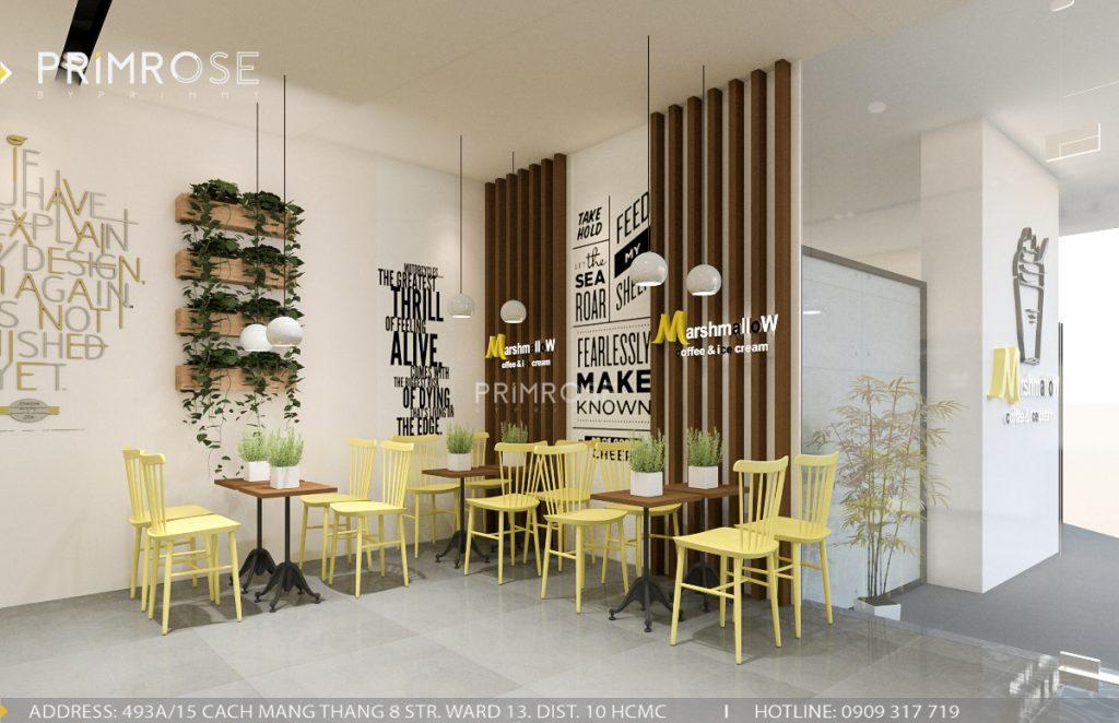 Marshmallow - Không gian quán cafe kem phá cách độc đáo với phong cách hiện đại thiet ke quan cafe kem4