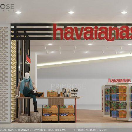 Havaianas – Không gian shop thời trang giày dép nổi bật với tông màu trẻ trung