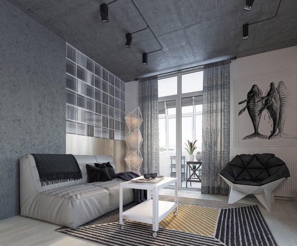 Thiết kế thi công nội thất chung cư hiện đại Grated glass tiles three fish triptych painting living room