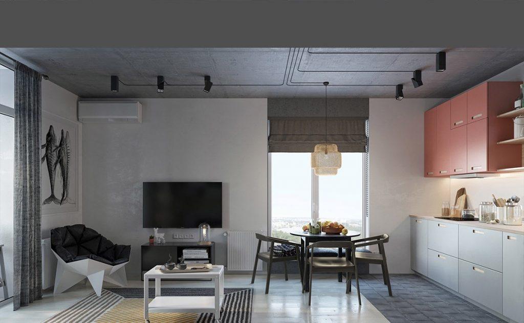 Thiết kế thi công nội thất chung cư hiện đại Honeycomb hanging light mauve kitchen cabinets living space