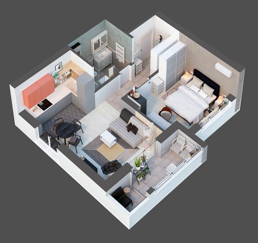 Thiết kế thi công nội thất chung cư hiện đại Top down architectural diagram 40sqm apartment