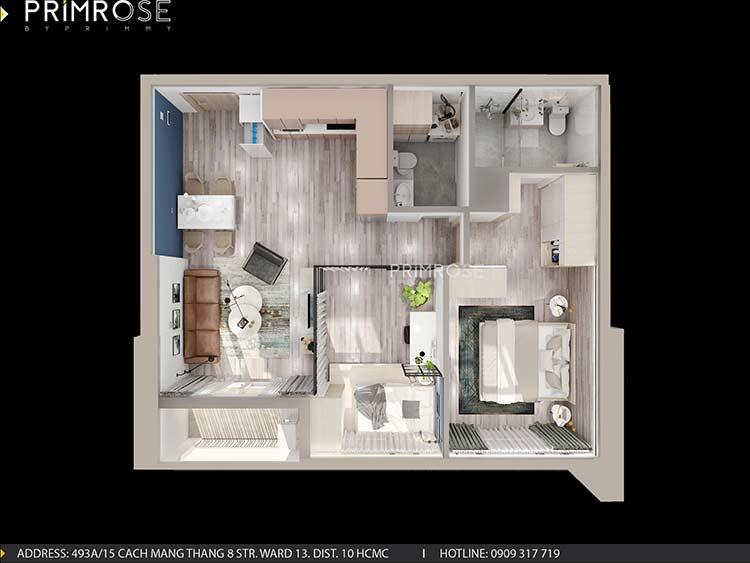 Thiết kế nội thất căn hộ Sunrise Riverside với 2 phòng ngủ thiet ke noi that can ho 65m2 phong cach hien dai 1