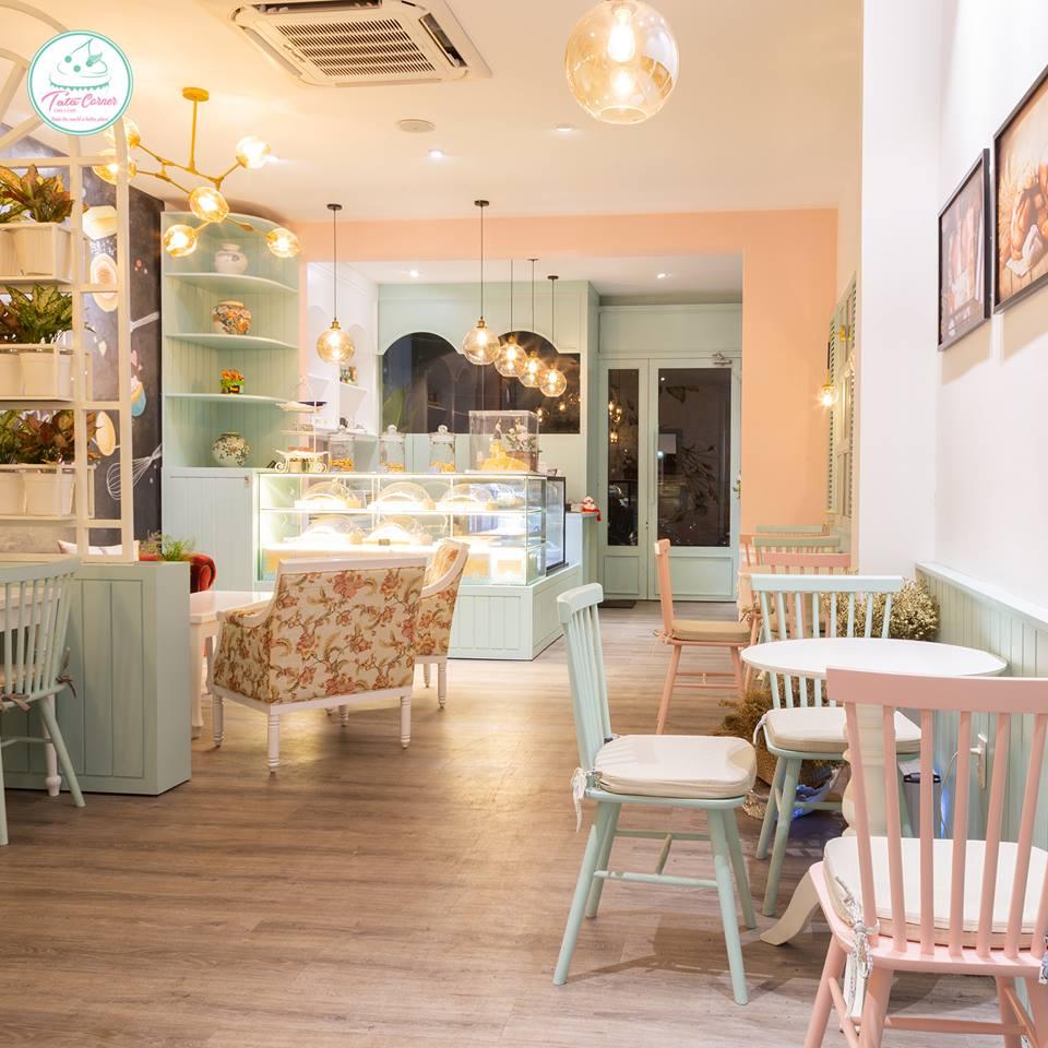 TATA Corner - tiệm cà phê bánh với không gian Pastel siêu cute và ngọt ngào thiet ke tiem cafe banh Tata Bakery 1