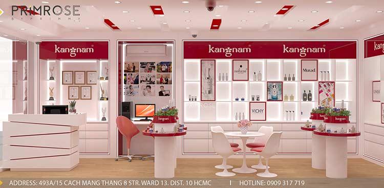 Tạo sự khác biệt trong thiết kế nội thất showroom mỹ phẩm Kang Nam – Tân Bình, HCM