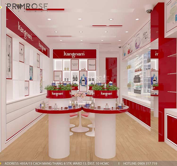 Tạo sự khác biệt trong thiết kế nội thất showroom mỹ phẩm Kang Nam - Tân Bình, HCM thiet ke showroom my pham Kang Nam 2