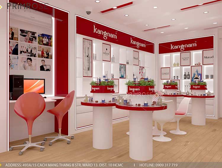 Tạo sự khác biệt trong thiết kế nội thất showroom mỹ phẩm Kang Nam - Tân Bình, HCM thiet ke showroom my pham Kang Nam 3