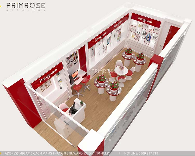 Tạo sự khác biệt trong thiết kế nội thất showroom mỹ phẩm Kang Nam - Tân Bình, HCM thiet ke showroom my pham Kang Nam 7