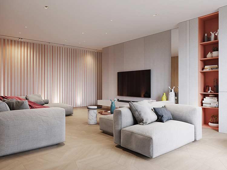 Căn hộ phong cách Retro pha nét đương đại Grey sectional sofa