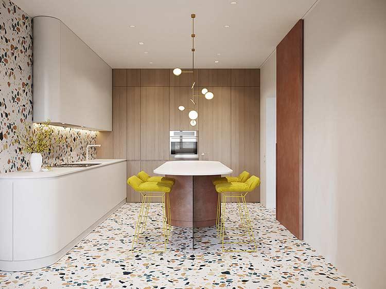 Căn hộ phong cách Retro pha nét đương đại Modern flooring