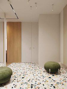 Căn hộ phong cách Retro pha nét đương đại White hallway decor