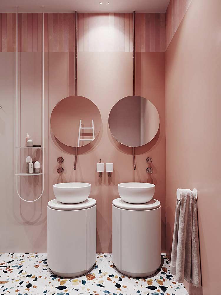 Căn hộ phong cách Retro pha nét đương đại double sink bathroom vanity 1