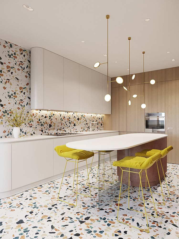 Căn hộ phong cách Retro pha nét đương đại modern chandeliers