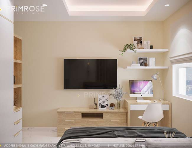 Thiết kế nội thất căn hộ hiện đại 75m2, 2 phòng ngủ tại Quận 11 thiet ke noi that can ho phong cach moc 3