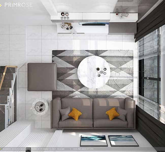 Thiết kế nội thất nhà phố 1 trệt, 2 lầu tại Thủ Đức thiet ke nha pho hien dai 1 1
