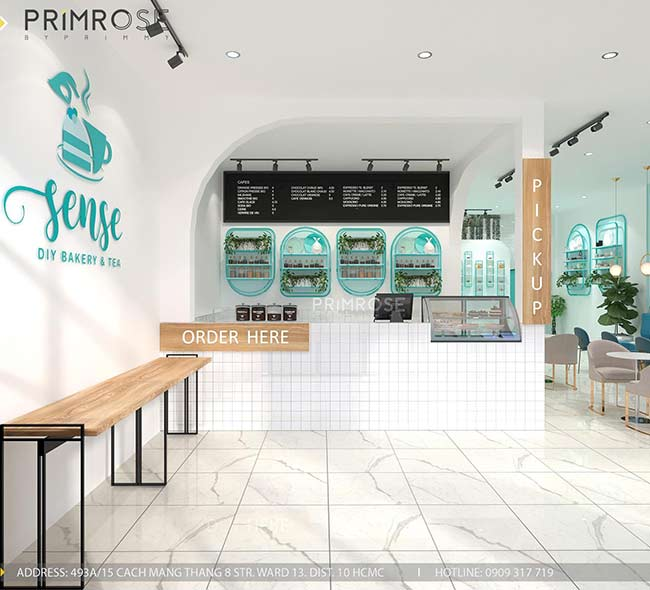 Thiết kế tiệm bánh ngọt kết hợp trà cafe Sense DIY Bakery & Tea thiet ke quan cafe banh HCM 3