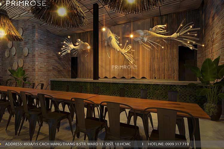 Thiết kế nhà hàng phong cách đồng quê nha hang san vuon thu duc 1