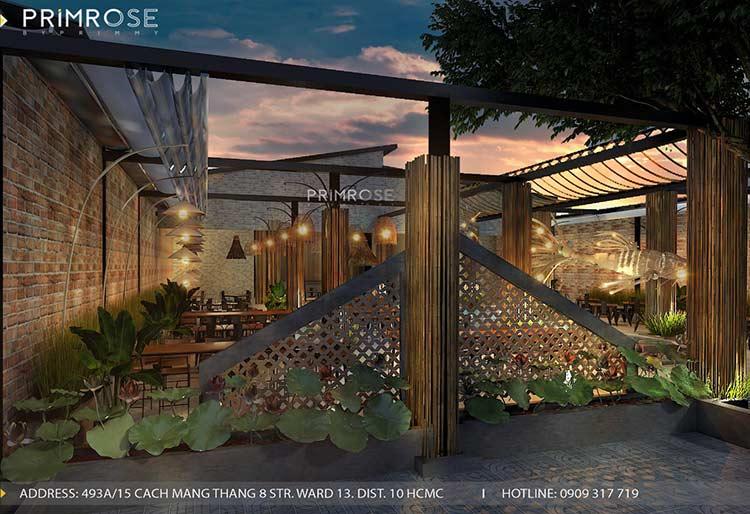 Thiết kế nhà hàng phong cách đồng quê nha hang san vuon thu duc 7