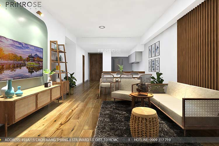 Thiết kế nội thất căn hộ Mizuki - Bình Chánh phong cách Đông Dương thie cong noi that can ho 3