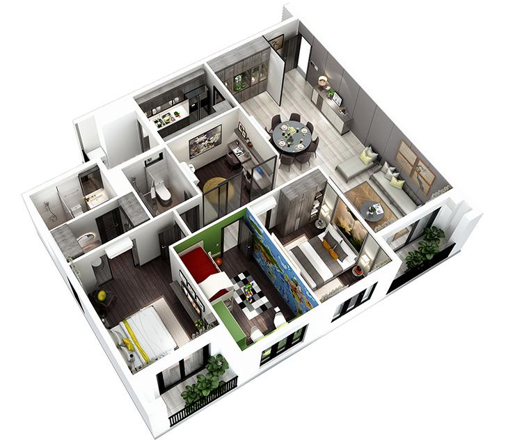 Thiết kế nội thất căn hộ Hà Đô, Quận 10 thiet ke Canho 3D 3PN 123m2