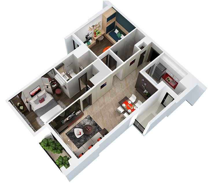 Thiết kế nội thất căn hộ Hà Đô, Quận 10 thiet ke noi that can ho 2PN 79m2