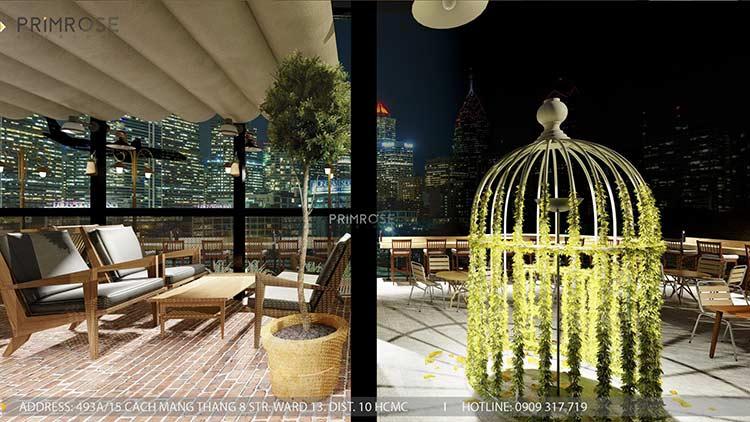 Phố Ngự - Không gian cafe sân thượng phong cách Min - Century - Dịch vụ thiết kế quán cafe thiet ke noi that quan cafe 1