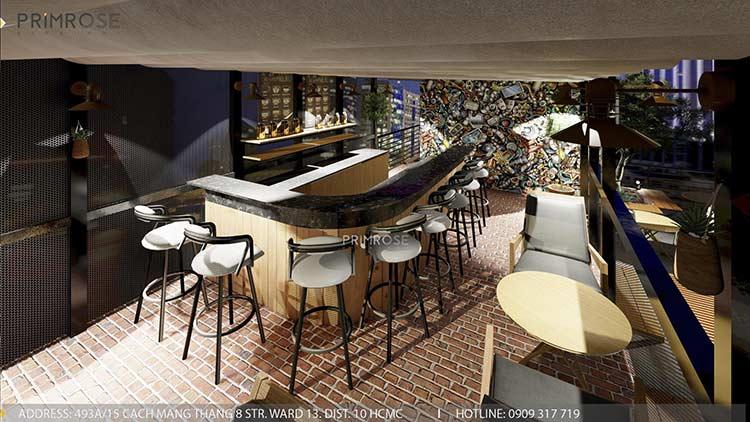 Phố Ngự - Không gian cafe sân thượng phong cách Min - Century - Dịch vụ thiết kế quán cafe thiet ke noi that quan cafe 10
