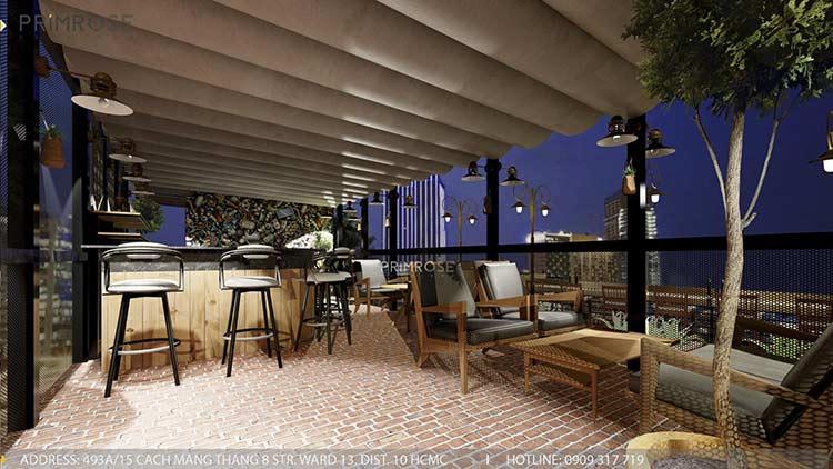 Phố Ngự - Không gian cafe sân thượng phong cách Min - Century - Dịch vụ thiết kế quán cafe thiet ke noi that quan cafe 11