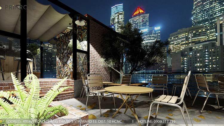 Phố Ngự - Không gian cafe sân thượng phong cách Min - Century - Dịch vụ thiết kế quán cafe thiet ke noi that quan cafe 13