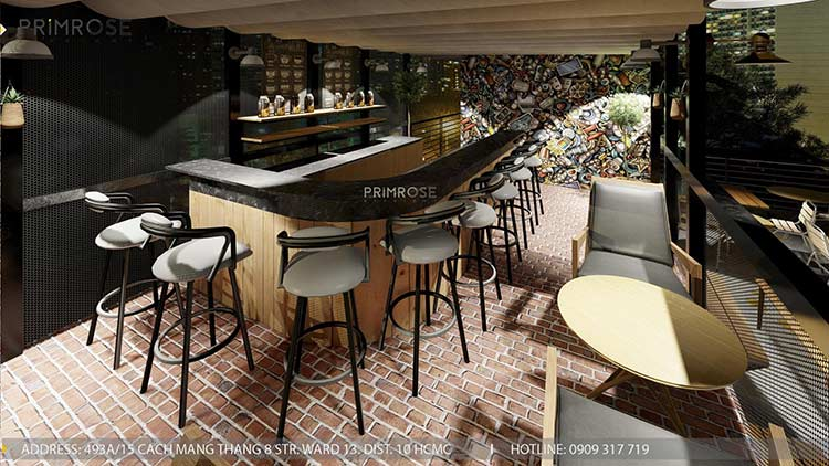 Phố Ngự - Không gian cafe sân thượng phong cách Min - Century - Dịch vụ thiết kế quán cafe thiet ke noi that quan cafe 15