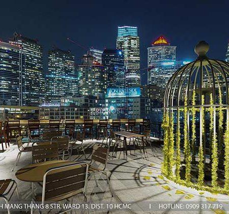 Phố Ngự – Không gian cafe sân thượng phong cách Min – Century – Dịch vụ thiết kế quán cafe
