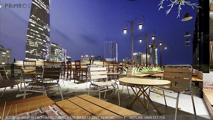 Phố Ngự - Không gian cafe sân thượng phong cách Min - Century - Dịch vụ thiết kế quán cafe thiet ke noi that quan cafe 17
