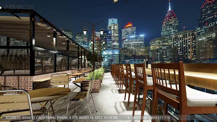Phố Ngự - Không gian cafe sân thượng phong cách Min - Century - Dịch vụ thiết kế quán cafe thiet ke noi that quan cafe 2