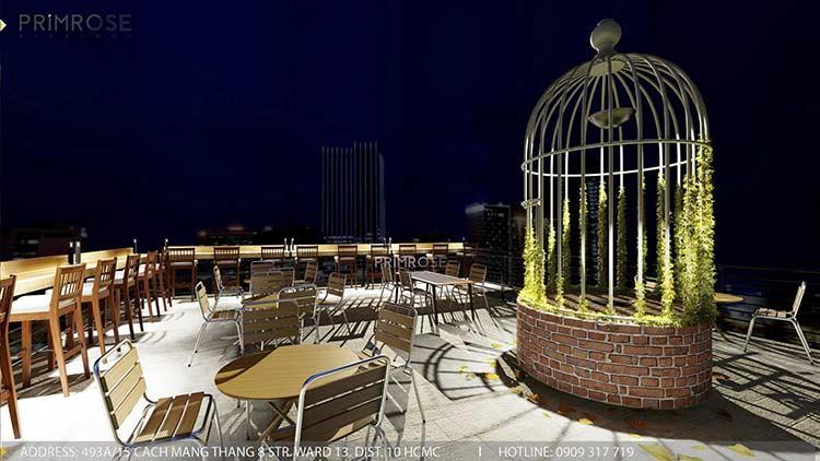 Phố Ngự - Không gian cafe sân thượng phong cách Min - Century thiet ke noi that quan cafe 20