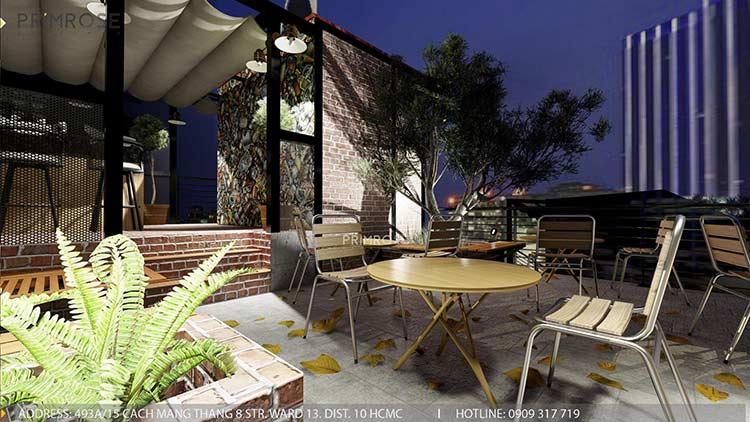 Phố Ngự - Không gian cafe sân thượng phong cách Min - Century - Dịch vụ thiết kế quán cafe thiet ke noi that quan cafe 3