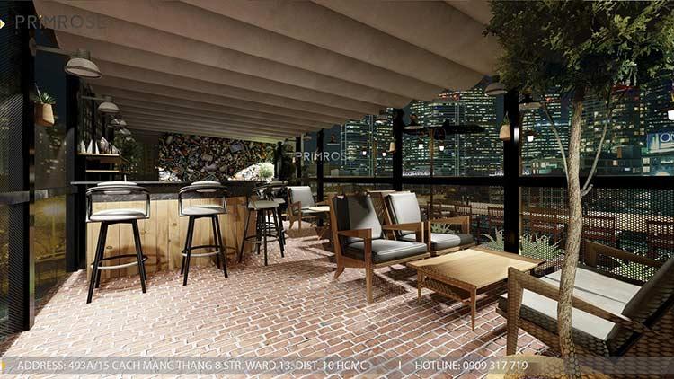 Phố Ngự - Không gian cafe sân thượng phong cách Min - Century - Dịch vụ thiết kế quán cafe thiet ke noi that quan cafe 5