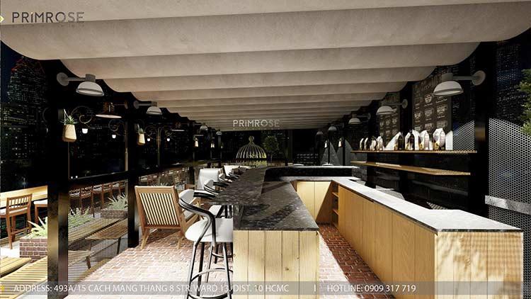 Phố Ngự - Không gian cafe sân thượng phong cách Min - Century - Dịch vụ thiết kế quán cafe thiet ke noi that quan cafe 6