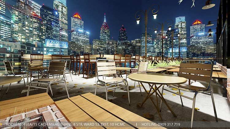 Phố Ngự - Không gian cafe sân thượng phong cách Min - Century - Dịch vụ thiết kế quán cafe thiet ke noi that quan cafe 7