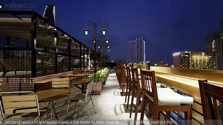 Phố Ngự - Không gian cafe sân thượng phong cách Min - Century - Dịch vụ thiết kế quán cafe thiet ke noi that quan cafe 8