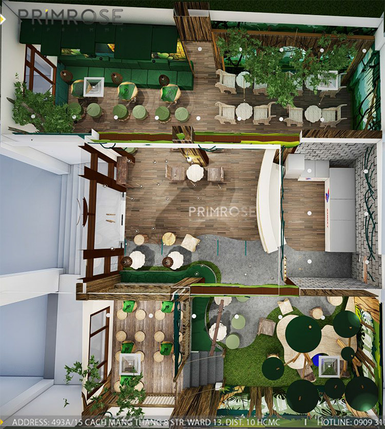 YoFresh – thiết kế quán trà sữa theo phong cách rừng nhiệt đới giữa lòng thành phố thiet ke quan tra sua yogurt ver 2 1 12