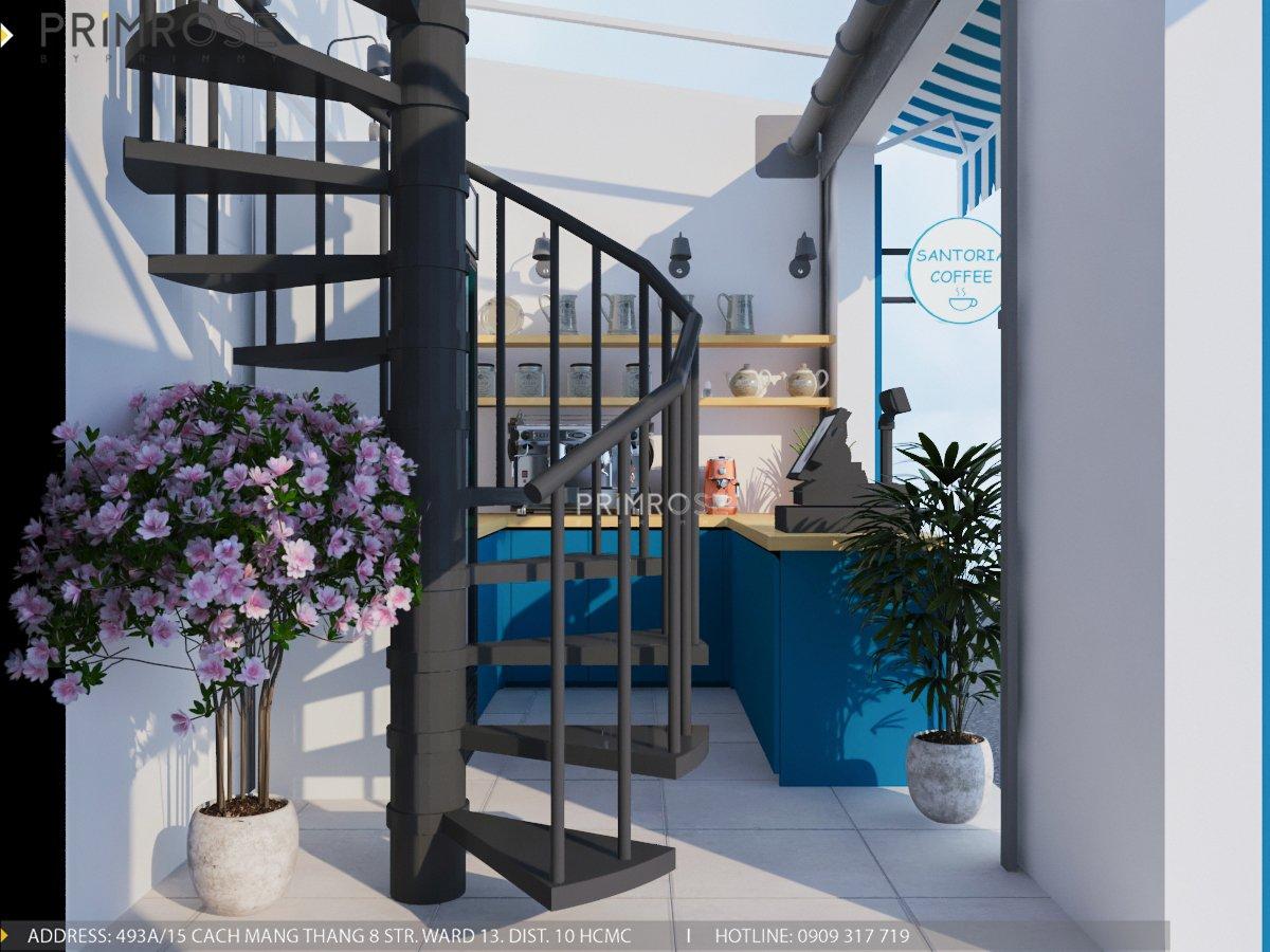 Cafe santoria - Không gian đậm chất Địa Trung Hải THIET KE QUAN CAFE DEP 11
