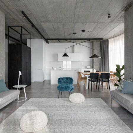 Mẫu căn hộ ấm áp với tông xám tối giản