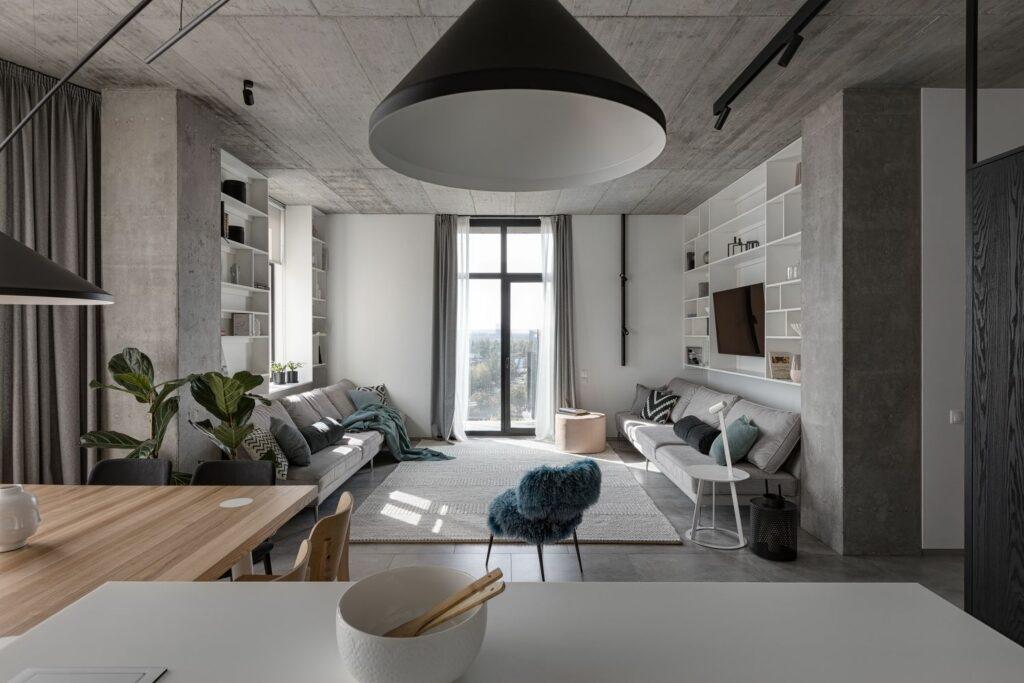 Mẫu căn hộ ấm áp với tông xám tối giản thiet ke can ho hien dai 3