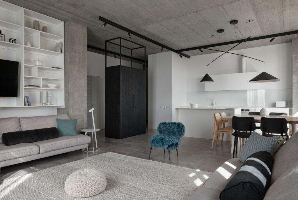 Mẫu căn hộ ấm áp với tông xám tối giản thiet ke can ho hien dai 5